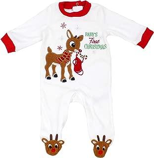 Rudolph Red Nose Reindeer Baby Girl Boy Unisex First Christmas Onesie Footie Pajama