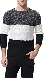 Zicac Men's Casual Slim Fit Pullover Sweaters Long Sleeve Twisted Knitted Thermal Crewneck Sweaters