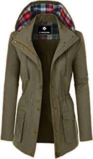 TL Women's Versatile Militray Anorak Parka Hoodie Jackets with Drawstring