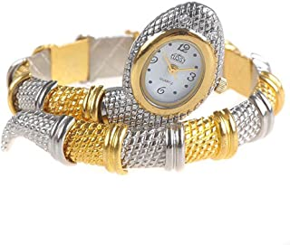 Chic Snake Shaped Analog Bangle Watch Bracelet Wrist Watch Timepiece for Lady Woman - Silver & Golden SWTH8-51306