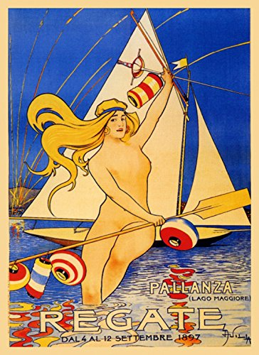 """CANVAS 1897 Blond Girl Lady Sailboat Regate Lago Lake Maggiore Italy Italia Italian Sport Vintage Poster Repro 16"""" X 22"""" Image Size ON CANVAS. We Have Other Sizes Available"""