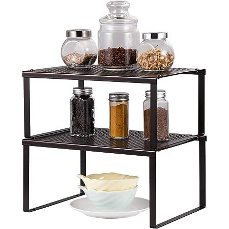 HAITRAL Étagère de rangement pour armoire de cuisine - Organiseur extensible empilable dans le placard - Solution de rangement pour épices, verres, herbes