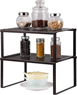 HAITRAL Étagère de rangement pour armoire de cuisine - Organiseur extensible empilable dans le placard - Solution de range...