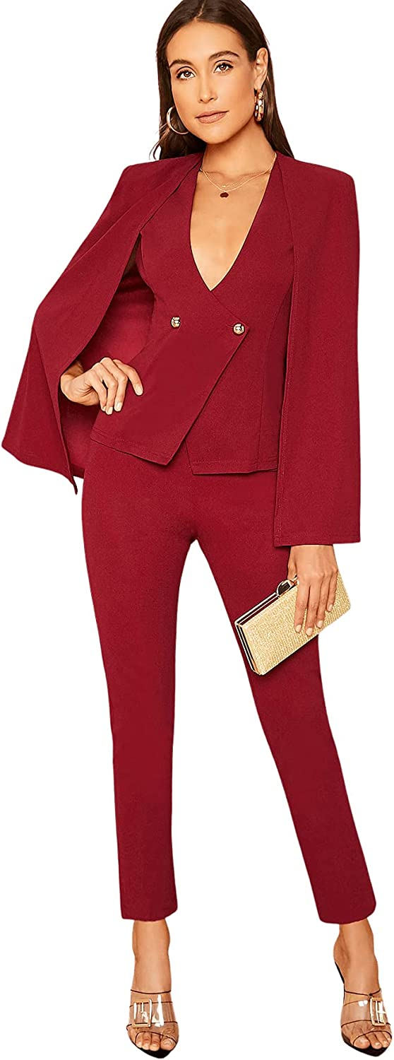 SheIn Women's Cloak Long Sleeve Button Front Blazer with Tailored Pants Suits Set