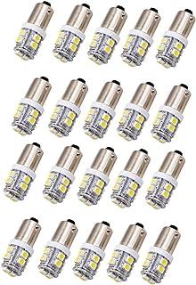 JKLcom BA9S LED Bulbs White 3528 10SMD 1445 17053 BA9S 12V LED Light Bulb for Car Interior License Plate Dome Door Map Light,Bayonet Single Contact Base,Pack of 20