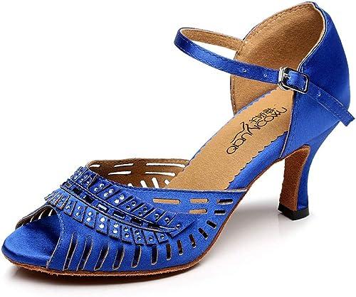 En Satin Boucle à Cheville Chaussures de Danse Latine Diahommet Tango Salsa Open Toe Talons Hauts
