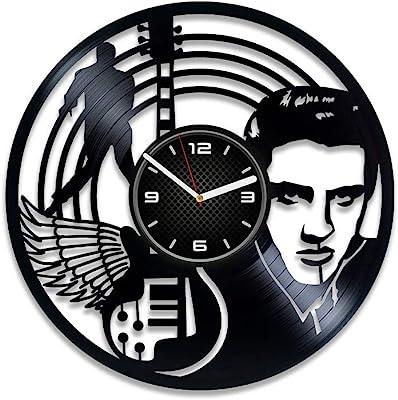 DecorStudioUA Birthday Gift Elvis Presley Clock Elvis Presley Art Elvis Presley Gift 12 inch Clock Elvis Presley Wall Clock Vintage Vinyl Record Clock Gift for Man Elvis Presley Vinyl Clock