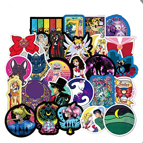 Sailor Moon PVC Waterproof Stickers for Laptop, Notebooks, Car, Bicycle, Skateboards, Luggage Decoration 50PCS (Sailor Moon)