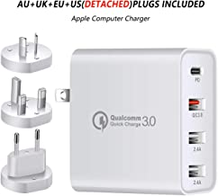 """USB C Charger, CRISTION 48W 4-Port PD2.0 QC3.0 2.4A*2 with USA/EU/UK/AU Adapter Charging for MacBook Pro 2017/2018 iPhone X/Xs/XR New iPad Pro 11""""/ 12.9"""" MacBook Galaxy Note10 S10 S9 and More (White)"""