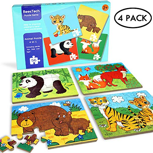 BEESTECH Elementary Jigsaw Puzzles for Toddlers 2、3、4 Years Old, Toddler Animal Puzzles 4 Pack with Panda, Bear, Fox, Tiger, Early Educational Learning Puzzles for Kids, Boys and Girls