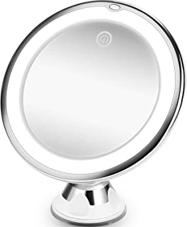 Updated 10X Magnifying Makeup Mirror with Lights, 3 Color Lighting Modes, Intelligent Switch, Portable Hand Cosmetic, 360 Degree Rotation, Powerful Suction Cup, for Tabletop, Bathroom and Traveling