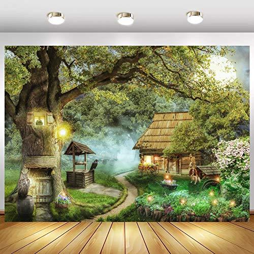 Fantasía Primavera Bosque Cuento de Hadas Mundo Arco árbol Agujero bebé niño Foto telón de Fondo fotografía Fondo para Estudio fotográfico A2 7x5ft / 2,1x1,5 m