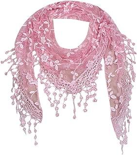TOTOD Sale Scarf !Fashion Chic Bohemia Lace Sheer Floral Shawl Wrap Ladies Elegant Tassel Triangle Scarves