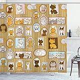 ABAKUHAUS Chat Rideau de Douche, Arbre généalogique de Kitty Humour, Tissu Ensemble de Décor de Salle de Bain avec Crochets, 175 cm x 200 cm, Multicolore