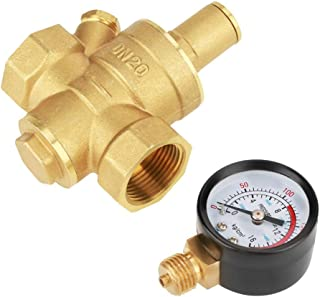 Water Pressure Regulator, DN20 Brass Adjustable Water Pressure Regulator Reduce Valver with Water Pressure Gauge Meter for RV Travel Trailer, Pop Up Camper