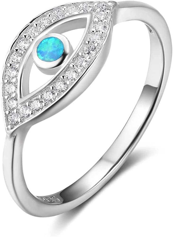 Great interest NA 5 popular MeekDeer 925 Sterling Silver Nazar Evil Blue Ring Turkish Eye