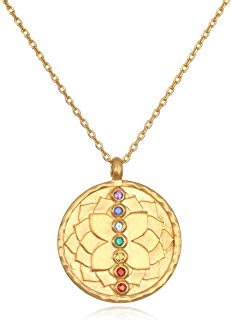 Satya Jewelry Women's Multi Gemstone Rose Gold Chakra Pendant Necklace 18-inch