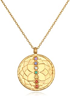 Women's Multi Gemstone Rose Gold Chakra Pendant Necklace 18-inch