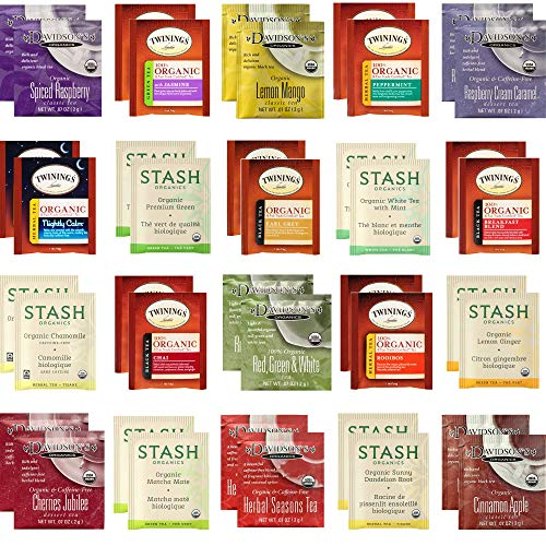 Organic Tea Sampler - Assortment Variety Gift Pack - Black, White, Green, Herbal Tea Bags - Stash, Twinings, Davidson's - 40 Count, 20 Flavors
