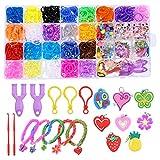 Xinzistar Kit Élastique Bracelet Enfant Scoubidou Multicolores avec Perles Pendentifs Mignons Boîte de Rangement Outils à Tricot pour DIY Bague Collier à la Main Bricolage Artisanat