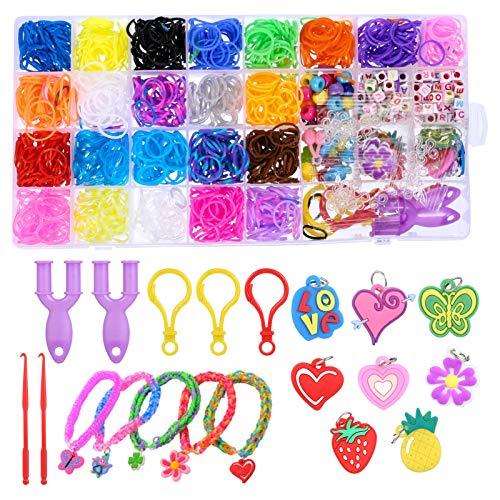 Xinzistar - Kit elástico para pulsera infantil, multicolor con cuentas colgantes con diseño de búho, caja de almacenamiento, herramientas de tejer, para manualidades, anillo, collar a mano, bricolaje