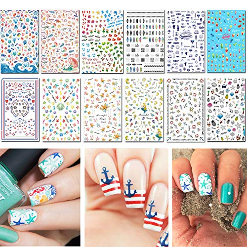 TailaiMei Summer Nail Decals Stickers, 1500+ Pcs Self-Adhesive Tips DIY Nail Art Design Stencil (12 Large Sheets)