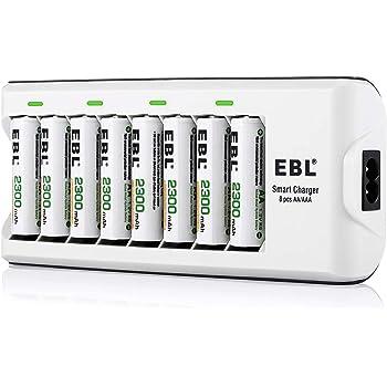 EBL Chargeur de Piles avec 8pcs Piles Rechargeables AA 2300mAh, Kit Chargeur avec Piles Rechargeables pour AA AAA piles rechargeables Ni-MH/Ni-CD