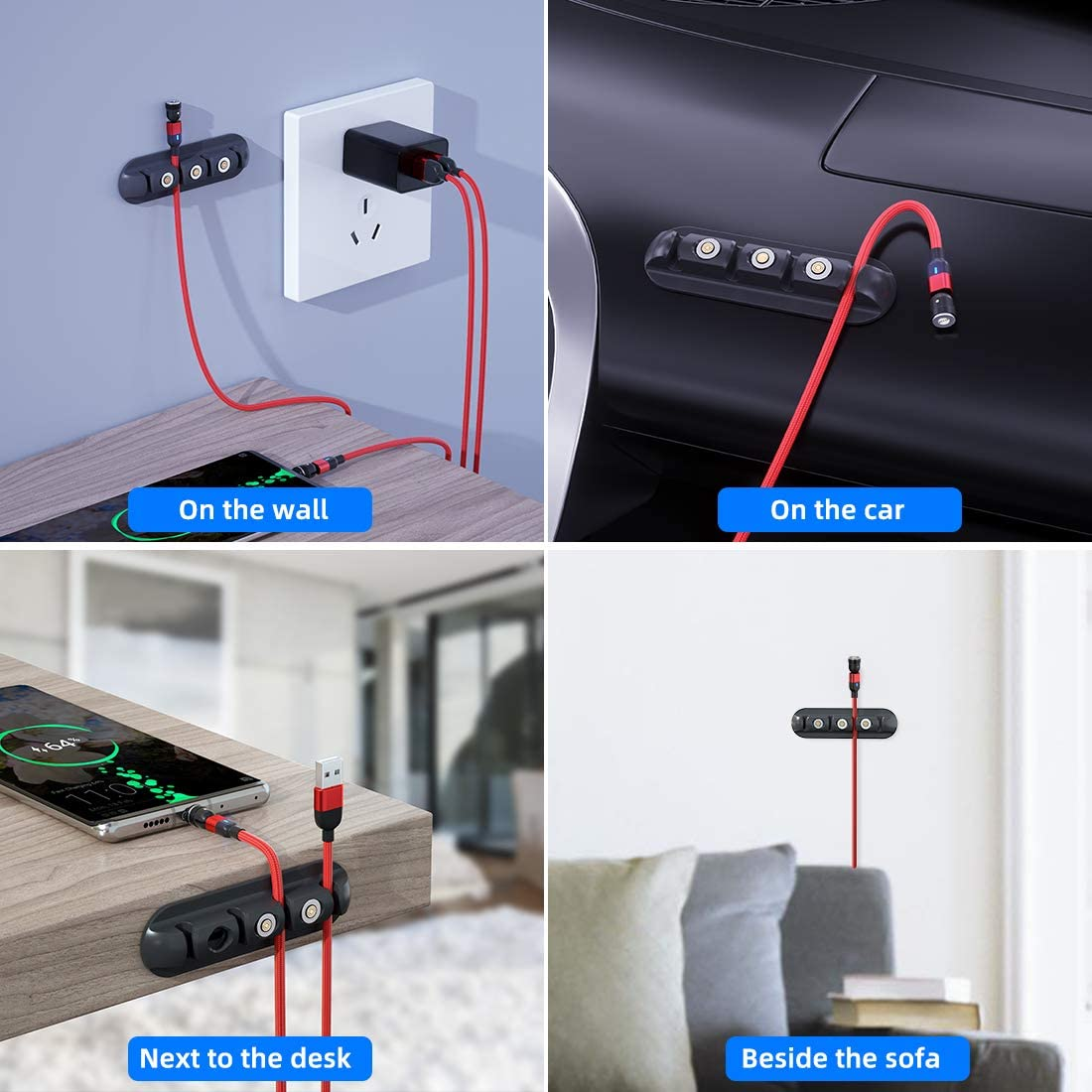 Aporia One-Pack: 3-Different Kinds of Storage for Magnetic Charging USB Tips   case Holder Cord Organizer for Magnet Connector Head Plug end Adapter   1xDesk Stick + 1xBullet + 1xCable Clip