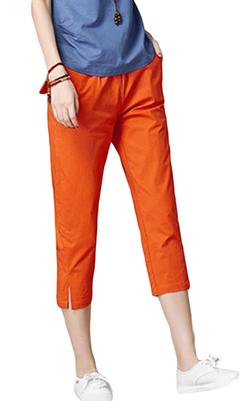 BSCOOLレディース クロップドパンツ 無地 夏 綿麻パンツ 短パン カジュアルパンツ レディースボトムス 大きいサイズ