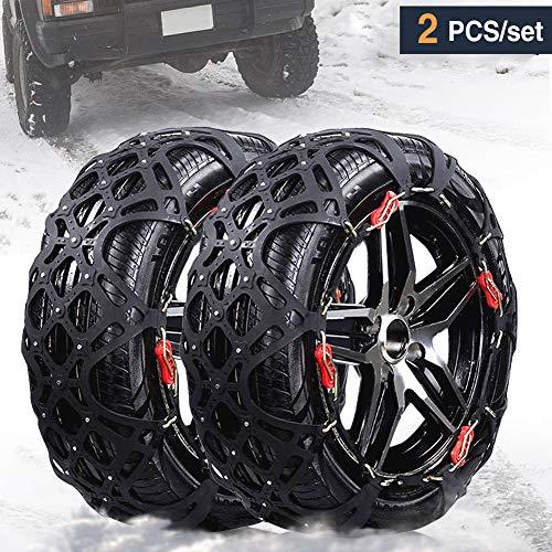 RUPSE Schneeketten Auto mit TÜV/GS/ÖNORM Universal Anti-Rutsch-Ketten Geeignet für Reifenbreite 195mm-255mm (Extra breit)