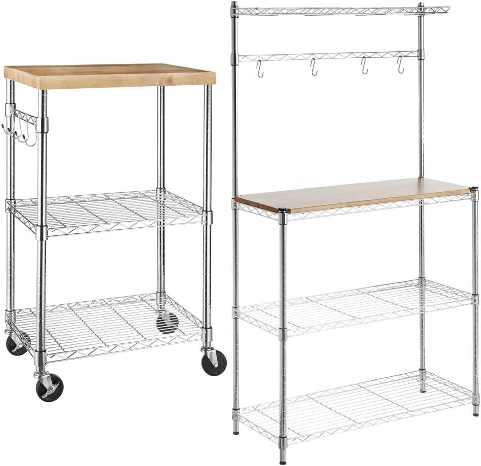 Amazon Com Amazonbasics Kitchen Storage Baker S Rack With Table Wood Chrome 63 4 Height Kitchen Rolling Microwave Cart On Wheels Storage Rack Wood Chrome Home Kitchen