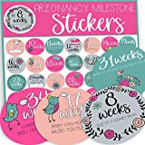 Pregnancy Weekly Stickers, Belly Stickers, Baby Bump Stickers, Pregnancy Gifts for First Time Moms, Baby Weekly Stickers for Pregnant Mom, Mom to be Gift, 36 XL Stickers for Each Week