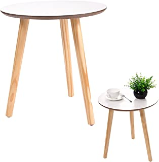 New White Modern Round Coffee Table Simple Style End Table W/Pine Wood Legs