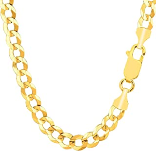 "TheDiamondDeal Mens Solid 14K Yellow Gold 7.00mm Shiny Cuban Comfort Curb Cuban Chain Necklace For men for Pendants Or Bracelet with Lobster-Claw Clasp (8.5"", 20"", 22"", 24"", or 26 inch)"