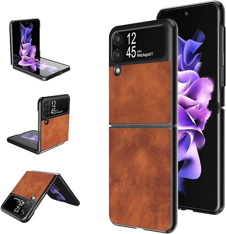 DDJ for Samsung Galaxy Z Flip 3 5G Case,Ultra-Thin Leather Magnetic Flip Protective Case for Galaxy Z Flip 3 2021 (Brown)