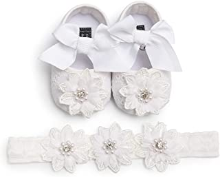 Tuoting Infant Baby Girl Shoes,Baby Mary Jane Flats Princess Dress Shoes with Headband for Newborns, Infants, Babies, and Toddlers