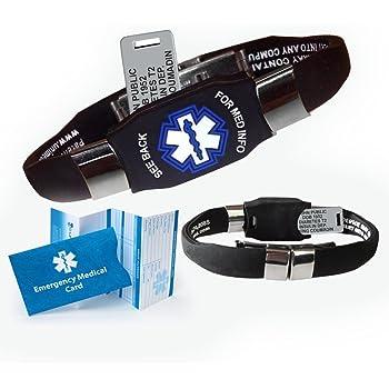 Waterproof Elite Medical ID Bracelet (incl. 10 Lines of Engraving on Acrylic Plate. Choose Your Color! (Black)