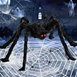 79'' Halloween Giant Spider Decorations with 200'' Halloween Spider Web,Stretch Cobweb,20 Small Plastic Spiders,Fake Scary Hairy Spiders Props for Indoor Outdoor Yard Halloween Decor Party Supplies