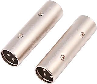 Wear-Resistant XLR Coupler Male Connector, XLR Male to Male Connector, Durable Noise Resistant Silver for Amplifier for Mi...