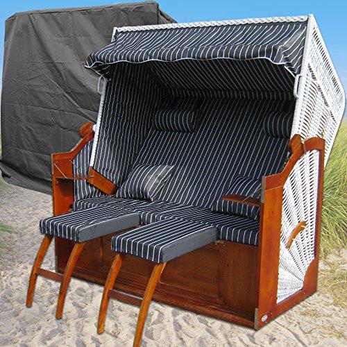 XXL Strandkorb # 2-Sitzer Strandkorb XXL # Strandkorb Ostsee # 2x komplett wechselbare BEZÜGE # uni Bezug anthrazit # +BONUS Bezug anthrazit gestreift # inkl. Strandkorbhülle # Polyrattan: weiss