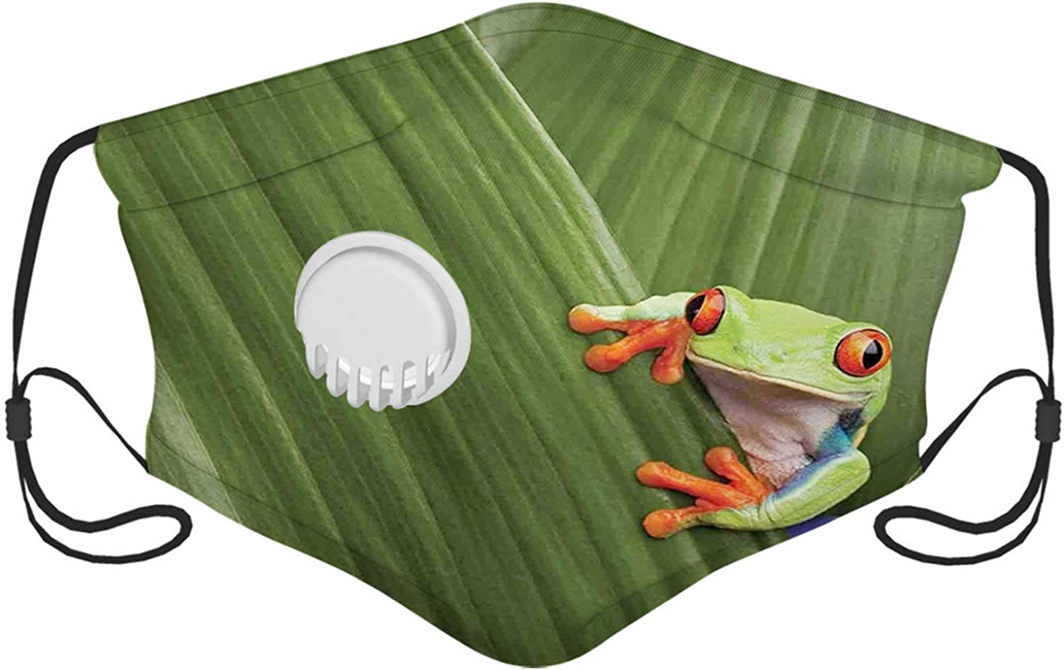 Animal, Red Eyed Tree Frog Hiding in Exotic Macro Leaf in Costa Rica Rainforest Tropical Nature, Green Windproof Face Mask,Reusable,Washable Cloth,Face Cover,Cover for Men Women