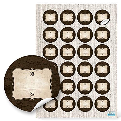 48 Stück runde Haushaltsetiketten blanko Aufkleber Etiketten - Beschriften 4 cm beige braun natur vintage selbstklebende Sticker Gewürze Gläser Gewürzetiketten leer beschreibbar