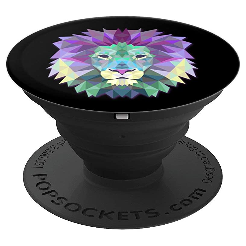 Lion Head Geometric Design Phone or Tablet Stand Gift Idea - PopSockets Grip and Stand for Phones and Tablets