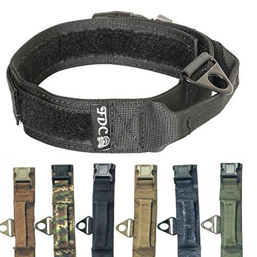 HEAVY DUTY Military Army Tactical K9 Dog Collars Handle HOOK & LOOP Width 1.5in Plastic Buckle Medium Large (L: Neck 12' - 14', BLACK)