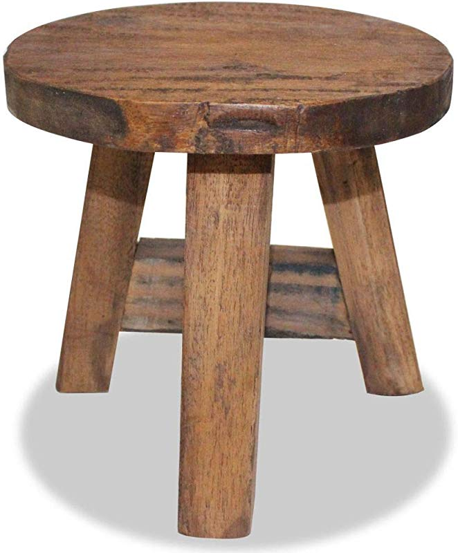 Unfade Memory Stool Solid Reclaimed Wood Ltille Stool For Living Room Bedroom Laundry Room Or Garden 20x20x23 Cm