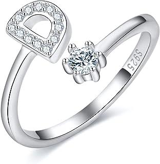 خاتم 925 من الفضة الإسترلينية قابل للتكديس بالحرف الأولي للنساء من A-Z مكعب زركونيا بالحرف الأبجدية قابل للتعديل، هدايا ال...