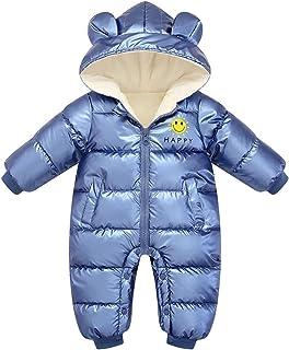 الوليد Snowsuit زائد المخملية للماء لا غسل بذلة طفلة بوي رومبير معطف الملابس (Color : Blue, Size : 24M)