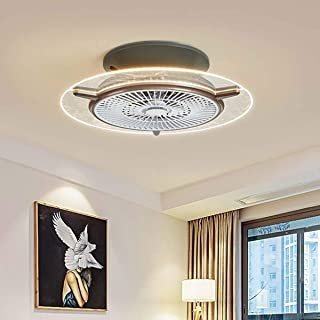 Ceiling Fan with Light, 22 inches Modern Ceiling Fan Remote, Invisible Low Profile Enclosed Blade Fan Lighting, Low Profil...