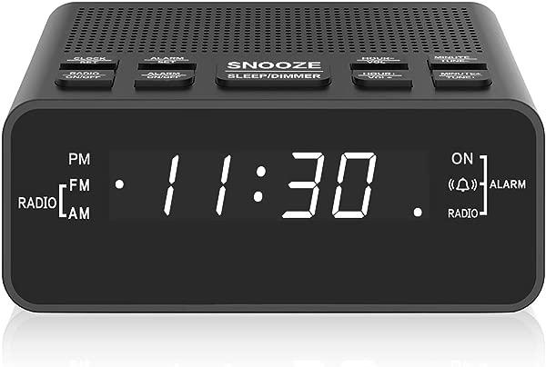 闹钟收音机数字调频收音机闹钟卧室黑色