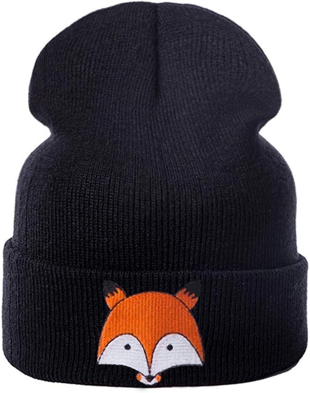 Knitted Skull Cap Women Beanie Hat Cotton Girls Unisex Warm Animal Printed Hat